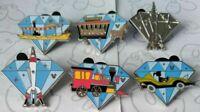 Train Rocket Autopia Diamond Attractions 2015 Hidden Mickey DLR 6 Disney Pin Set