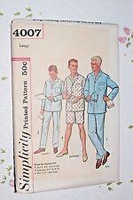 Vintage 60's Simplicity 4007 Sewing Pattern Men's Pajamas Large 3 Heights UNCUT