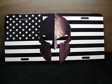 AMERICAN FLAG AND SPARTAN HELMET METAL NOVELTY LICENSE PLATE FOR CARS SPARTA