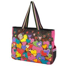 Laurel Burch Dancing Hearts Black Tote Oversize Bag Side Pockets Brights New