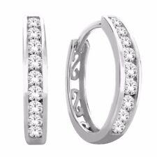 10K White Gold Women's Hoop Earring Set With 0.50 CT Diamond 112173