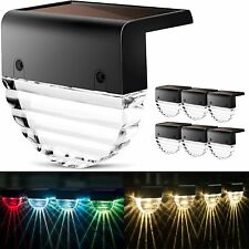 4/6/8x Solar Powered LED Deck Lights Outdoor Path Garden Stair Step Fence Lamp