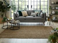 Sarita Boucle Fringed Recyclable Jute Natural Brown Small To Large Rug & Runner