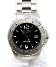 Authentic Rotary Men's GB00025-04 Swiss Quartz Black Face Stainless Watch NEW!