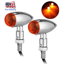 2X 12V Chrome Motorcycle Turn Signals Mini Bullet Blinker Amber Indicator Lights