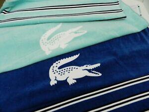 "Lacoste Oversized Beach Pool Bath Towel 100% Cotton 36""x72"" Heritage Blue NWT"