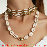 Design Nature and Alloy  Gold Color Shell Necklace Jewelry Set Cowrie Bracelet