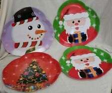 Set of 4 Large Christmas Snowman Christmas Tree Santa Claus Plastic Serving Tray