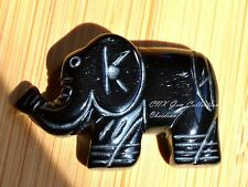 Natural Gem Crystal Black Obsidian Hand Carved Elephant Pendant with Hole