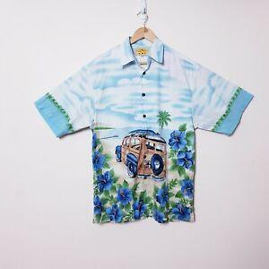 Maui Maui Mens M Medium Blue Truck Palms Hibiscus Button Up Hawaiian Shirt