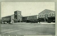 Vintage (1920s) Old Cars at High School in Richmond, California Postcard