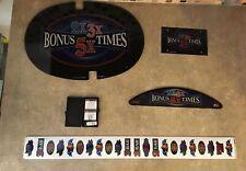 "Bally ""Bonus Times"" Slot Machine Glass Set w/Software, Strips, & Inserts ULB-7"
