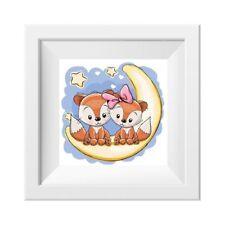 014 Kinderzimmer Bild Fuchs Mond Poster Plakat quadratisch 20 x 20 cm (ohne Rahm
