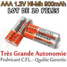 10 Piles AAA Rechargeables 900mAh 1.2V NIMH C.F.L. R3 R03 LR3 LR03 Batterie Accu