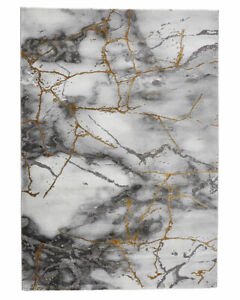 THINK RUGS CRAFT RUG 23270 GREY GOLD 120X170 160X220 ABSTRACT MARBLE METALLIC