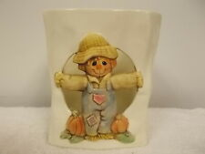Halloween Scarecrow Pumpkins Fall Harvest Ceramic Paper Bag Candle Holder Cute