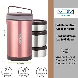 Vacuum Insulated Lunch Box 3 Layer Stainless Steel Bento Box Food Containers Jar