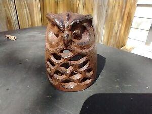"Vintage Cast Iron Lantern Owl Tealight Candle Holder Outdoor Patio Garden 3.5"""