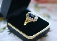 Vintage Jewellery Gold Ring Blue White Sapphires Antique Art Deco Jewelry T 10