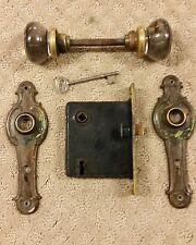 Antique Vintage Door Lockset Set Round Glass Knob Brass Plate Lock & Key(A2)