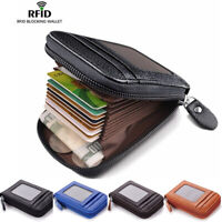 Men's Wallet Real Leather Credit Card Holder RFID Blocking Zipper Thin Pocket
