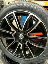"""20"""" JBW SPUR GLOSS BLACK/MACHINED ALLOY WHEELS+TYRES TO VW T5 SET OF 4"""