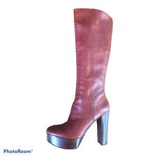 Nine West Cognac Brown Leather Knee High Platform Heel Boots Sz 8