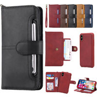 For iPhone X 6 6s 7 8 plus Detachable Leather Card Slots Wallet Flip Case Cover