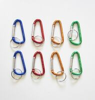 """2 SILVER CARABINER SPRING CLIP KEYCHAINS BELT BACKPACK KEY RING CHAIN 3/"""" SIZE"""