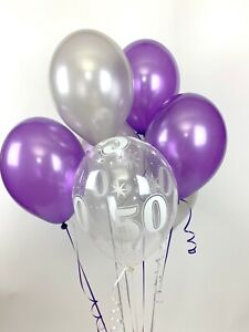 30 Purple, Silver and 50th Aged Range Pearlised Latex Balloons