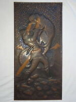 """Strong Man Fighting Tiger 70s Vtg Metal Picture Hunting Wild Animal Painting 23"""""""