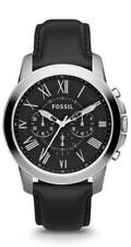 FOSSIL Grant Black Dial Black Leather Men's Watch FS4812