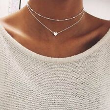 Boho Multilayer Women Heart Pendant Necklace Clavicle Choker Chain Jewelry Gift