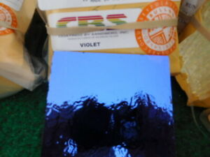"Dichroic Glass:CBS 90COE  Violet on Flat Thin Black-  3"" Sq"