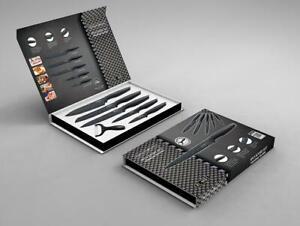 Messer Set 6teilig  Schwarz Geschenk-Set Antihaft-Beschichtung Royalty-Line