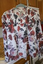 Lucky Brand Women's Ivory & Multi color Open Floral Print Top SZ XL Ret $99 NWT
