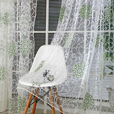 Flower Tulle Voile Door Window Curtain Drape Panel Sheer Scarf Divider Valances