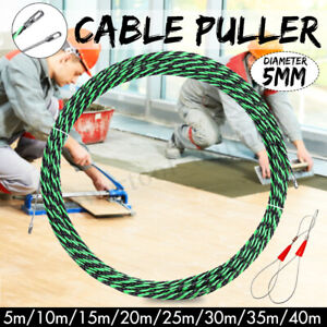 5-40m 5mm Flexible Fiberglass Nylon Fish Tape Cable Puller Electrician Tool Wire