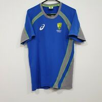 ASICS Cricket Australia Blue & Green Training Activewear Shirt Size Medium