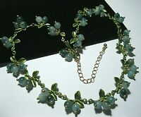 Gorgeous Vintage Style Art Deco Real Agate Stone BEAD Berries Enamel NECKLACE