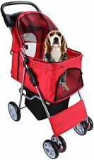 Pet Travel Stroller Dog Cat Pushchair Pram Jogger Buggy With 4 Wheels - Red