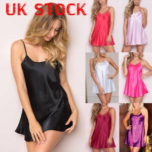 Women Satin Silk Nightdress Lingerie Sexy Nightwear Underwear Slip Dress Pajamas