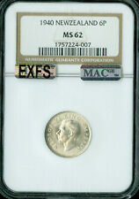 New listing 1940 New Zealand Sixspence 6P Ngc Mac Ms62 Pq Exfs Exceptional 1St Strike .