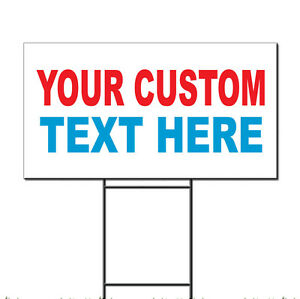 Your Custom Text Here Custom Red Blue Custom Plastic Yard Sign /Free Stakes