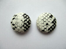 WHITE SNAKESKIN ROUND STUD EARRINGS FAUX LEATHER 15MM