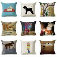 "18""*18"" Dog Home Cover Cushion Throw Cartoon Decor Case Pillow Linen Cotton"