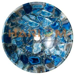 """15"""" Blue Agate Stone Round Wash Basin Sink Handicraft Kitchen Decorative  A109"""