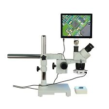 Trinocular 10X-20X-40X 5Mp Touchscreen Stereo Boom Microscope+144 Led Ring Light