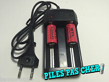 2 Piles Accus Rechargeables CR123A 16340 3.7V 2300Mah GTL Li-ion + CHARGEUR 2016