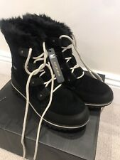WOMENS SOREL EXPLORER JOAN BlackSUEDE WINTER SNOW FAUX FUR ANKLE BOOTS SIZE UK 7